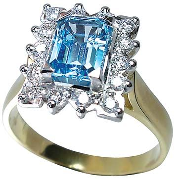 Blue Topaz and Diamond engagement ring by Petersens Jewellers Christchurch