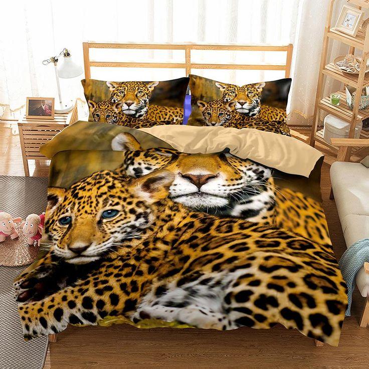 3D Animal Snow Leopard Printed 4 Bedding Sets/duvet cover set