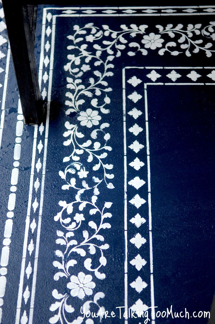 "Morrocan style ""rug"" - painted finish for outside floor.  (would also work well inside on floor-boards)"