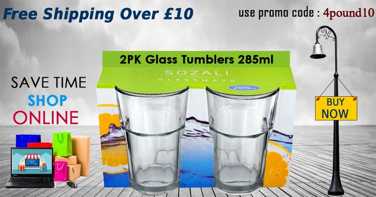 #Glass_Tumblers Pack of 2 available at Low Price Buy Now : http://www.4pound.co.uk/2pk-glass-tumblers-285ml