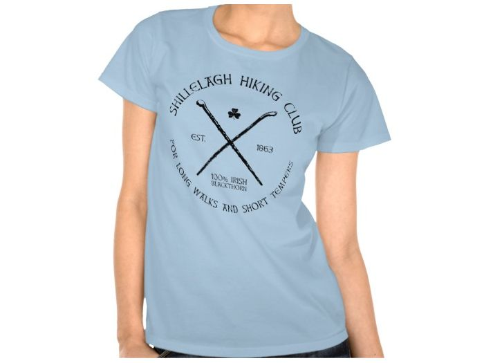 Shillelagh Hiking Club, Style is Women's Hanes ComfortSoft T-Shirt, color is Light Blue