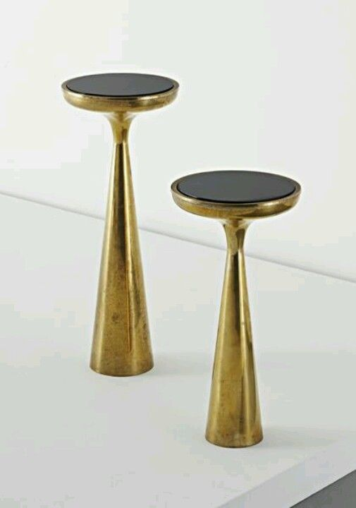 Polished brass and colored glass side tables, 1960s