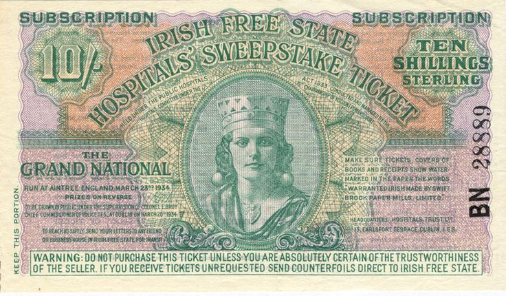 Irish Sweeps Stakes ticket - Aintree Grand National 1934