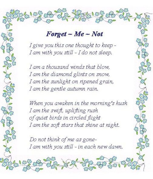poems and saying of comfort   The gift can be taken to a funeral or rest home by yourselves or ...