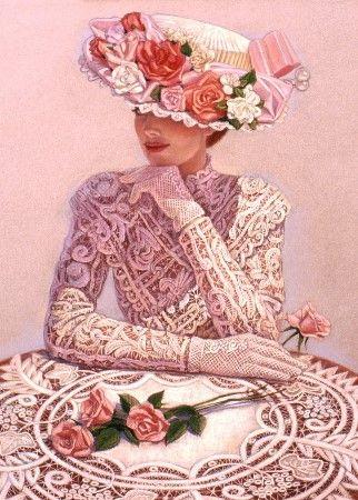 sue halstenberg romantic art lady victorian fashion print poster gifts
