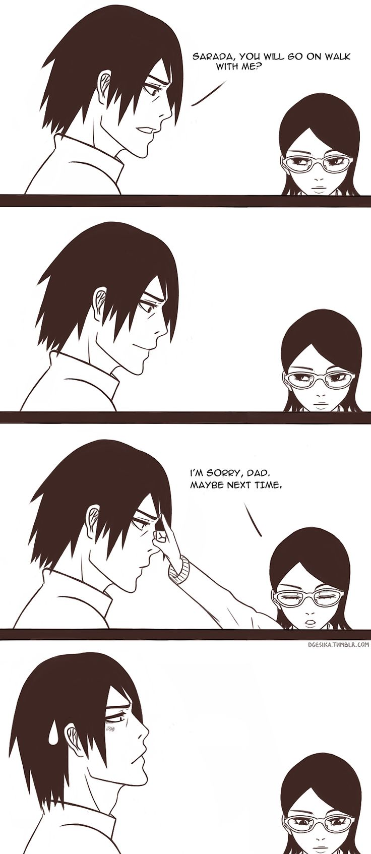 Tags: Fanart, NARUTO, Uchiha Sasuke, Comic, PNG Conversion, Tumblr, Dgesika, Uchiha Sarada