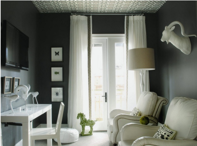 wow, beautiful black room with lead edge banding on the drapery