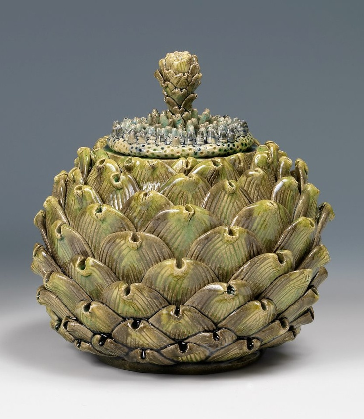 An Artichoke Box With Dream Flower Lid by Kate Malone represented at COLLECT by Adrian Sassoon