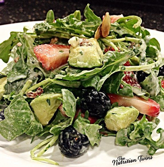 Berry Avocado Salad with Yogurt Cilantro Dressing | Only 158 Calories | Rich & Creamy Satisfying Salad | No more boring salads! | For MORE RECIPES like this please SIGN UP for our FREE NEWSLETTER www.NutritionTwins.com