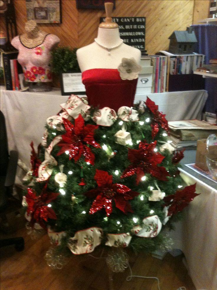 Christmas tree dress form for holiday window