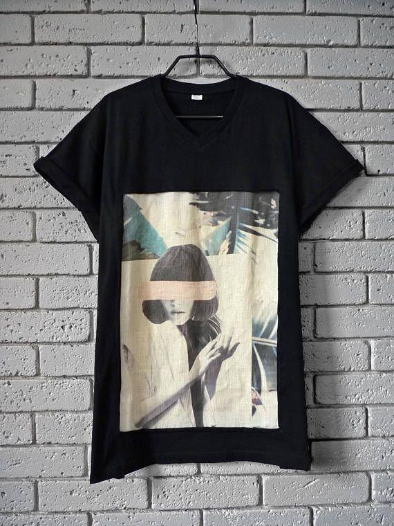 T-shirt black unisex Print linen shirt for men Tshirt for