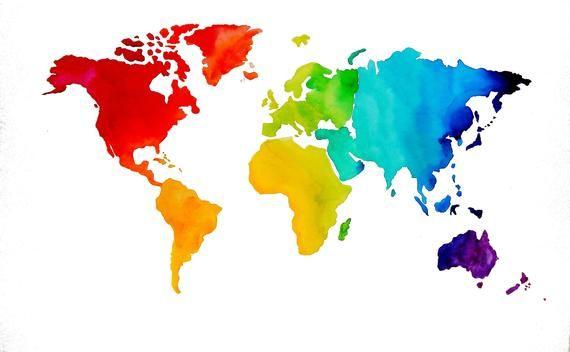 carte du monde aquarelle Aquarelle originale   carte du monde   voyage Art   couleurs arc
