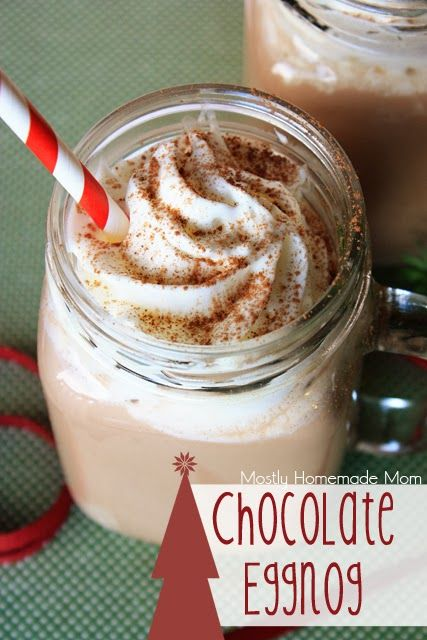 Chocolate Eggnog - such a simple and delicious holiday treat! The cocoa and nutmeg sprinkles are a MUST!