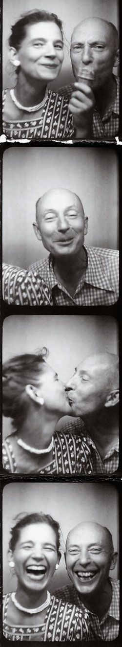 Ann and Len Lye in a photo booth on Coney Island, New York, in the 1950s.