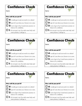 Confidence Check Tickets for students to self-report understanding of lesson ( Freebie )