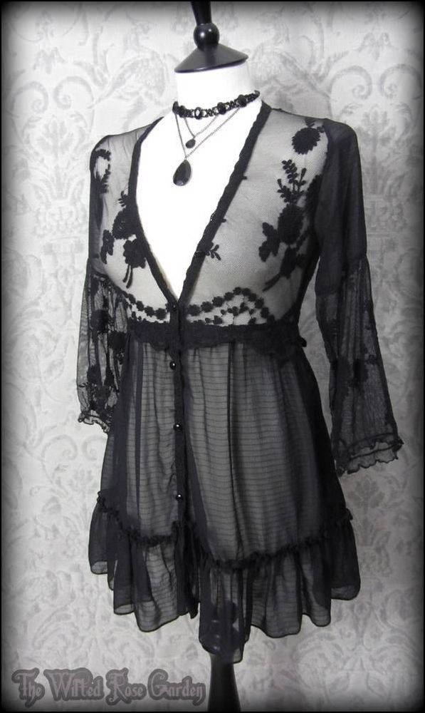 Romantic Goth Delicate Black Lace Layering Smock Top 8 Vintage Victorian Doll | THE WILTED ROSE GARDEN