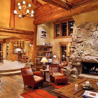 hybrid log house traditional living room vancouver sitka log homes