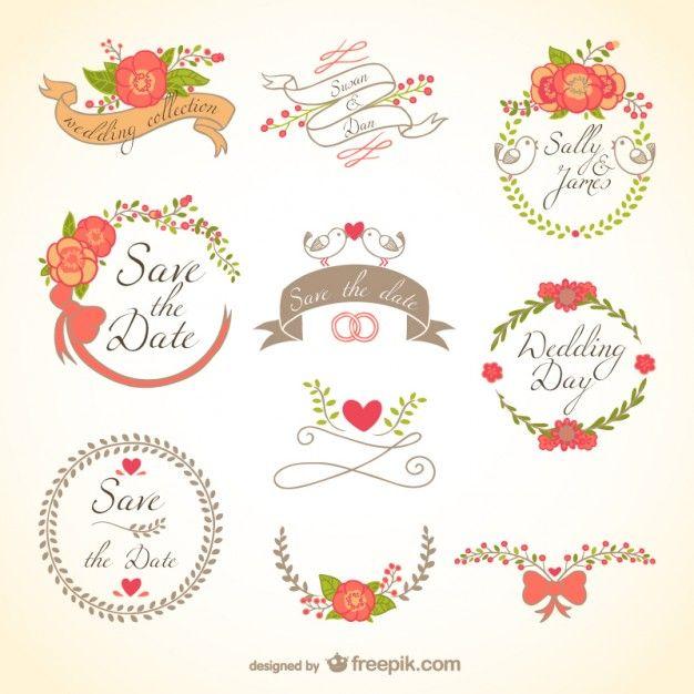 Emblemas florais do casamento Vetor grátis