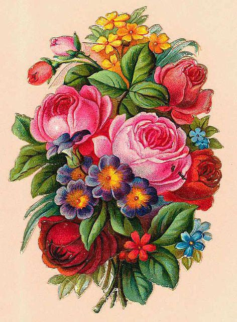 Easter BouquetVintage Flower, Rose 薔薇, Vintageimages Org, Vintage Materials