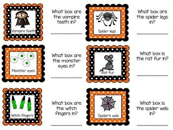 Halloween mystery box labels ... I always called them feely boxes :) SOOO cute!