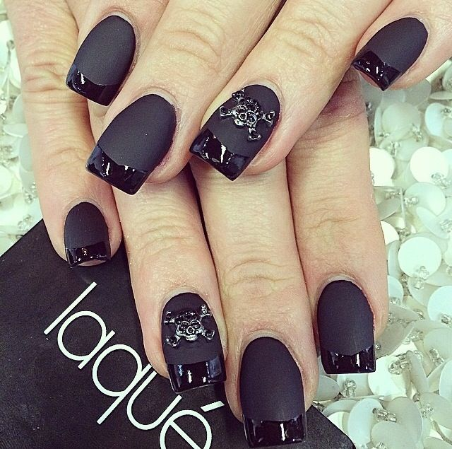 officially my favorite nails ever; black matte with black gloss tips and of course, skull embellishments!