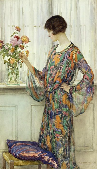 """Arranging Flowers"" by William Henry Margetson"