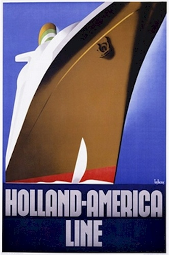 20X30 Art Deco Travel Poster: Holland America Line