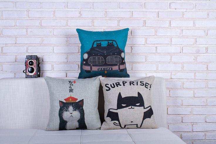 Бэтмен наволочка, кошка наволочка, мультфильм животных кошка бэтмен бросьте наволочку наволочки оптовая