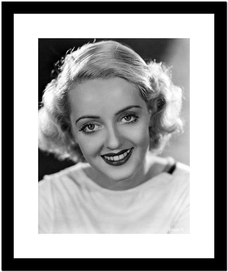Bette Davis Portrait Smiling In White Dress On Black