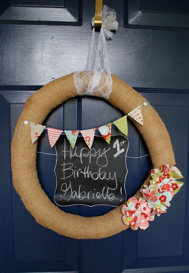 Shabby chic birthday party door wreath  love this!