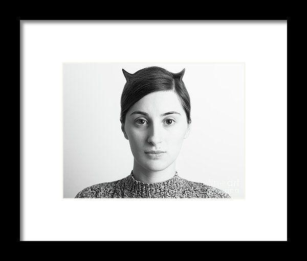 Black And White Abstract Woman Portrait Of Evil Concept Framed Print