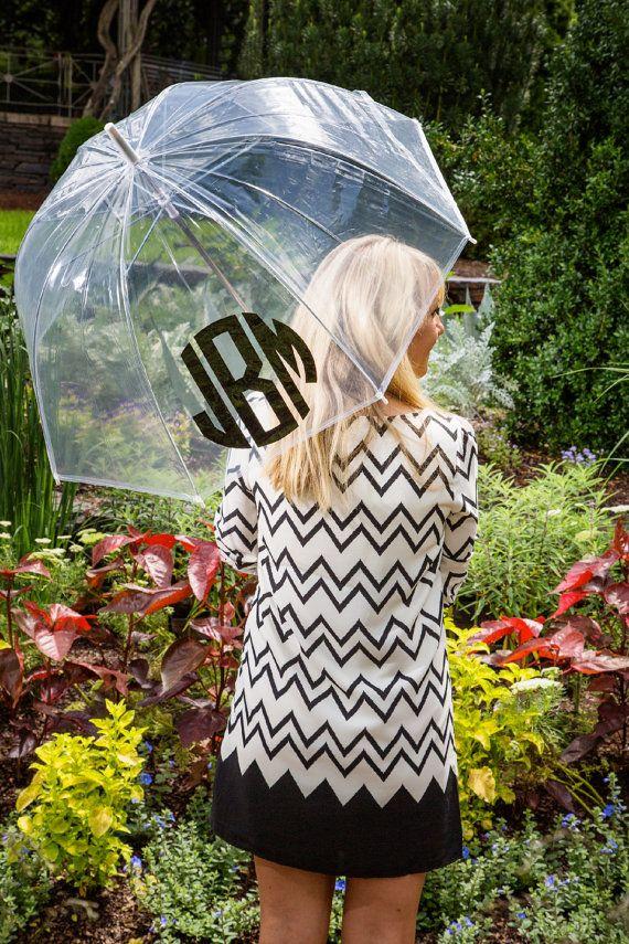 Monogrammed Adult's Clear Bubble Umbrella | Black Vine aDj Monogram
