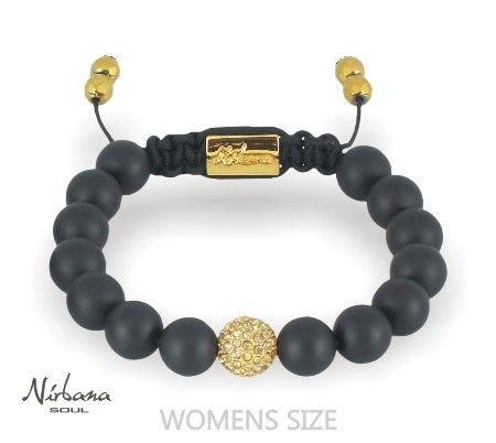 Nirbana Soul Caia bracelet - Agate - Black & Gold beads - Shamballa