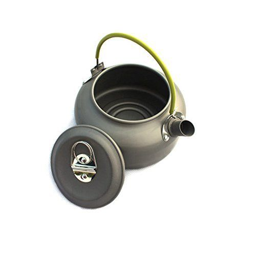 Product Description: Aluminum Outdoor Camping Hiking Teakettle Teapot – The handle and lid are coated for safety and easy handling. – Anodized surface can withstand scratches and abrasions. – Convenient folding handle locks into place when boiling. – Traditional kettle.... more details at https://www.bestselleroutlet.net/camping/camp-kitchen/coffee-tea-pots/product-review-for-aluminum-outdoor-camping-hiking-teakettle-teapot-cookware-grey-0-8l/