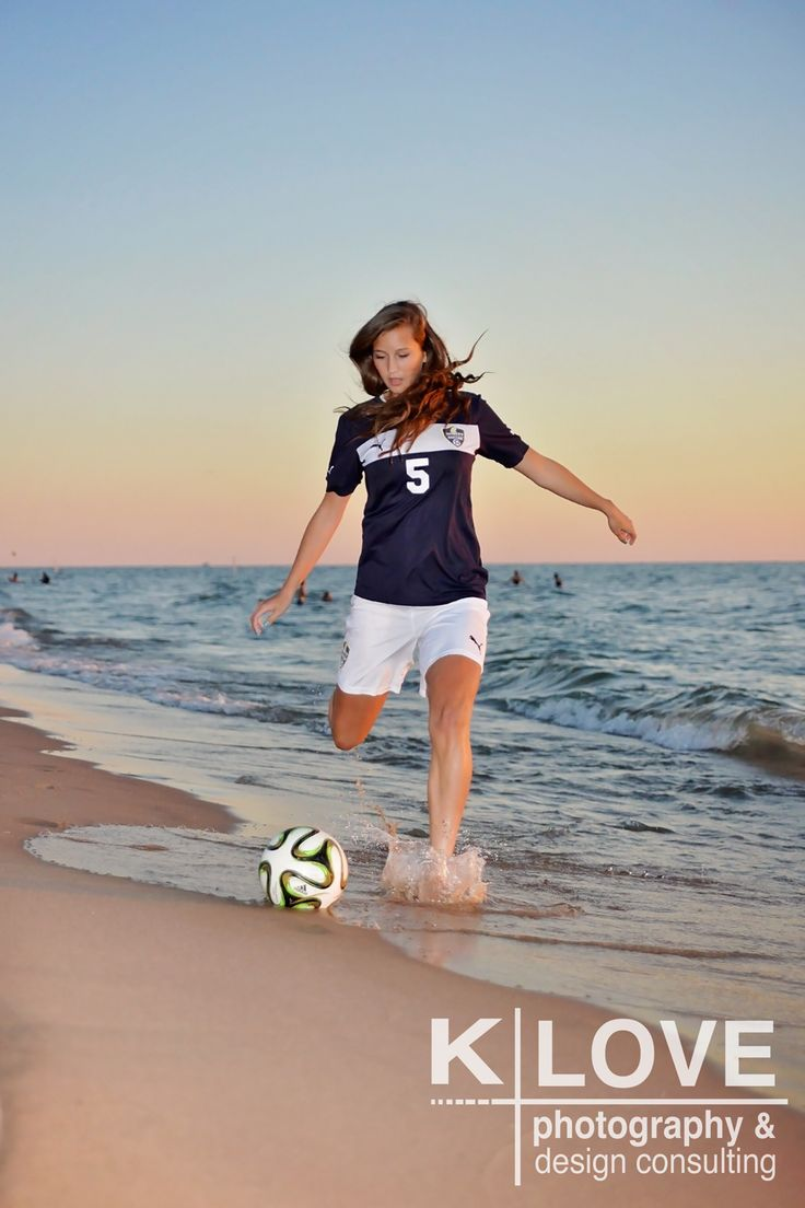 Beach senior pictures. Soccer senior pictures for girls. #KLovePhotography
