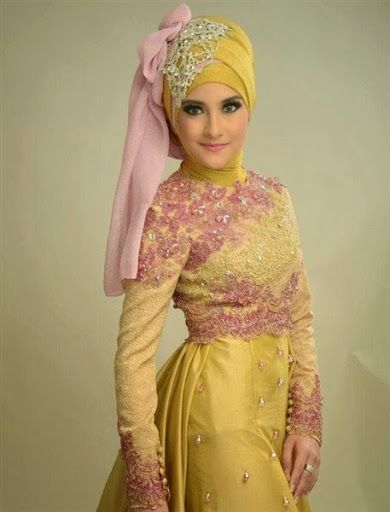 Kebaya muslim pengantin acara pernikahan atau perkawinan terbaru 2015