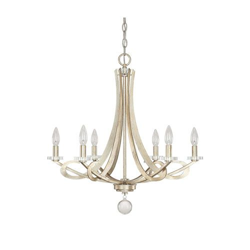 Hutton Winter Gold Six Light Chandelier Without Shades