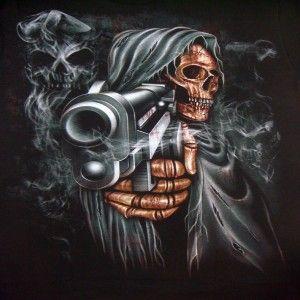 Grim Reaper Skull Tattoos | Grim Reaper Pointing Gun Mens ...