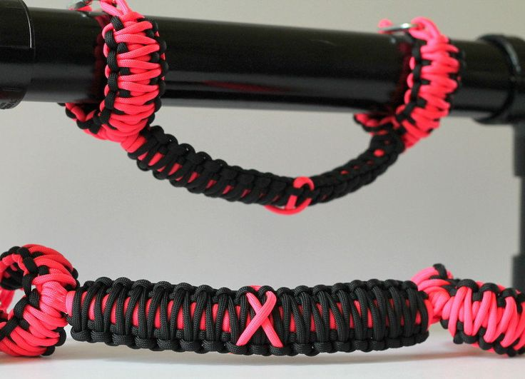 Paracord Jeep Wrangler TJ or YJ Grab Handles, Breast Cancer Awareness, Pink, Black, Roll Bar Handles, Roll Bar Grips, HawgTies, set of two by HawgtiedGrips on Etsy