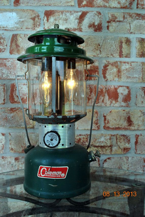 Vintage Coleman Lantern Lamp Industrial Upcycled Reclaimed Recycled Lighting Man Cave Minimalist Green Metal