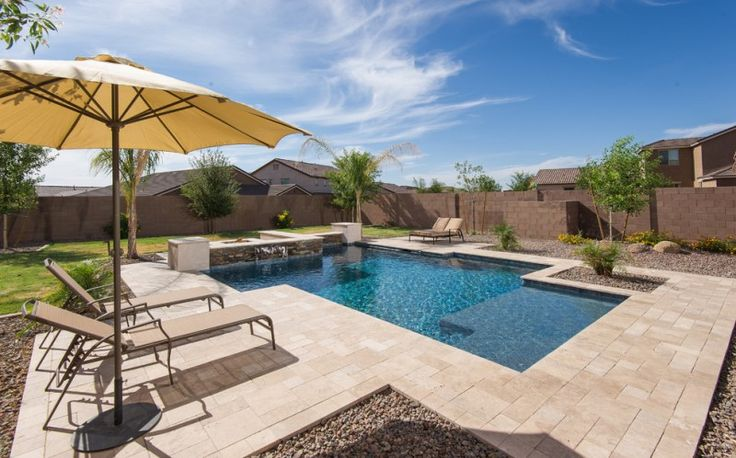 travertine pavers pool deck lounges sunbrella pebbles decorative plants fountain lawn contemporary design of Elegantly Beautiful Travertine Pavers Pool Deck to Feast Your Eyes On