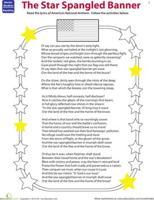 Fourth Grade Vocabulary Civics & Government Music Worksheets: Read The Star Spangled Banner