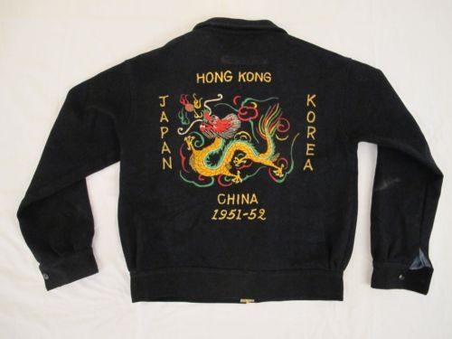 Vintage-51-52-US-Army-Navy-Embroidered-WOOL-SOUVENIR-JACKET-Japan-Korea-China