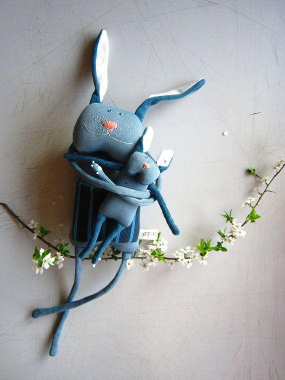 Bunny soft toy set by Skripskrap on Etsy, €45.00