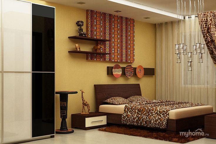 Проект разработан по индивидуальному заказу. Дизайн выполнен в африканском стиле в теплых светлых тонах. Двухуровневый потолок со встроенными светильниками и люстрами. На пол уложен серый ламинат. Цвет мебели прекрасно контрастирует с основным цветовым решением помещения.