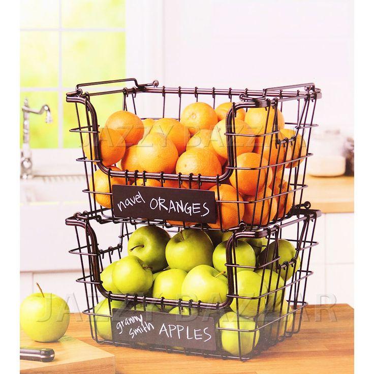 Kitchen Wire Fruit Basket Vegetable Hartney Stacking Storage Baskets Set Of  2