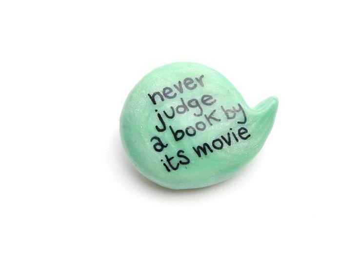 Mint polymer clay brooch book movie speech bubble by madamaRobe. €10,00, via Etsy.
