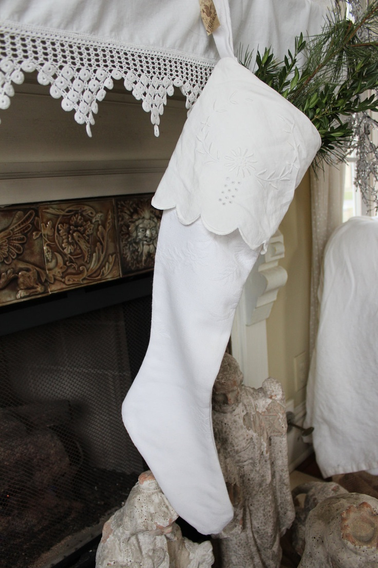 """Beautiful vintage mattlase and linen Christmas Stocking with embroidery to embellish this beautiful stocking, lined with vintage white linen. Approx. 27"""" long."""