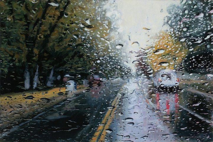 Incredibly Realistic Rainy Day Paintings by Karen Woods - My Modern Metropolis