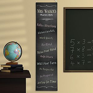 LOVE LOVE LOVE this Chalkboard Teacher Classroom Rules Personalized Banner ... it's adorable and you can personalize it with any title at the top and any 10 rules! It's only $24.95 at PMall! #Teacher #Classroom #ClassroomRules #Chalkboard
